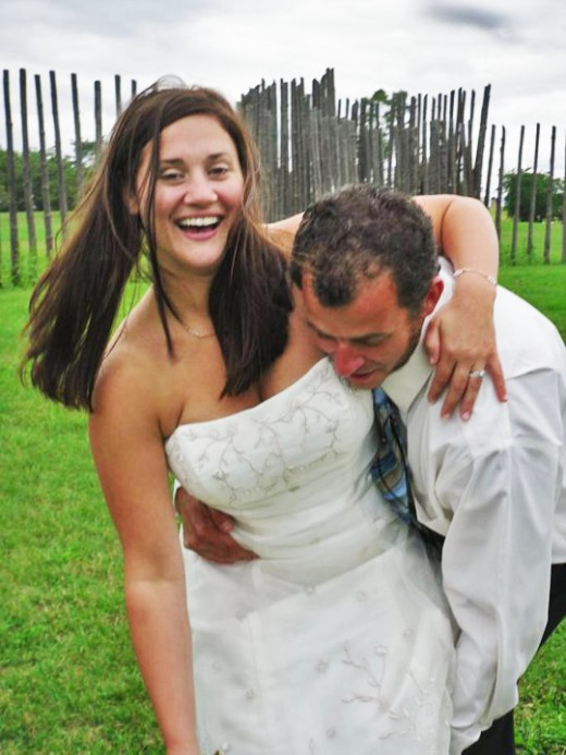 Ben Zoltak and his gorgeous Welsch American bride enacting the Ojibwe wrestle moments after their Apache wedding blessing and Polish salt and bread blessing