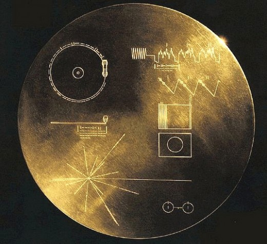 "The ""Golden Record"" on the Voyager spacecrafts."