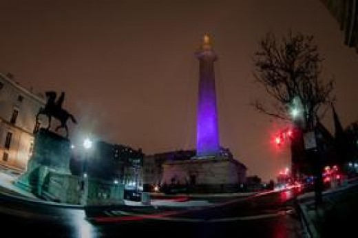 Washington Monument in Purple