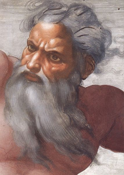 Detail of God from the Creation of the Sun and Moon by Michelangelo (1475-1564).