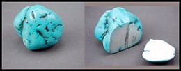 dyed howlite, cut to reveal the inner nature of the stone
