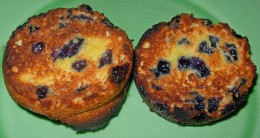 Leftover Blueberry Muffins broiled in oven