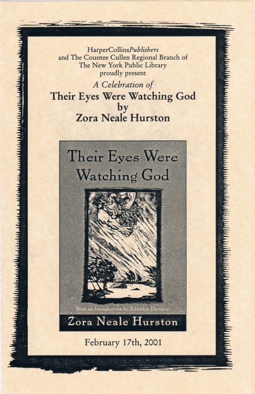"""On February 17, 2001, I helped videotape a literary event titled, """"A Celebration of Their Eyes Were Watching God by Zora Neale Hurston"""" at the Countee Cullen Regional Branch of the New York Public Library in Harlem."""