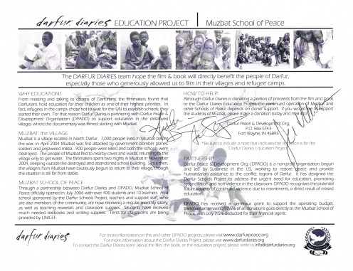 """Above and below are the autographs of Jen Marlowe, Aisha Bain and Adam Shapiro, authors of """"Darfur Dairies: Stories of Survival,"""" and documentary filmakers of """"Darfur Diaries: Message from Home."""""""