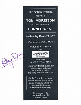 This flier was signed by Ruby Dee, whom I spotted in the audience of this event. Obtained a few years after the death of her husband, Ossie Davis, it was sad to see her without him by her side.