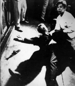 Bobby Kennedy after being shot. Image Wikipedia.