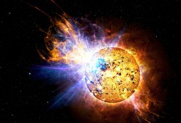 A solar flare from a Red Dwarf Star.