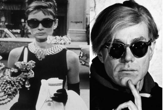 Audrey Epburn and Andy Warhol, both Wearing Wayfarers