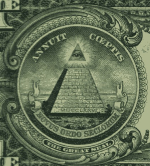 "The all-seeing-eye on the dollar bill, which Americans see every time they make a cash transaction. Below the pyramid/eye symbol are the words: ""Novus Ordo Seclorum,"" which can be translated as: ' A new order of the ages"""
