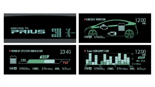 2010 Toyota Prius Hybrid: Images From Instrument Cluster. Each of these images are displayed sequentially when buttons on the steering wheel are pushed. The bottom left image is the Hybrid System Indicator.