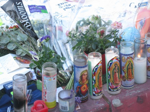 Votive candles in front of University Medical Center in Tucson