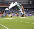 New York Jets receiver Braylon Edwards (17) does a back flip after the AFC Divisional Playoff game against the New England Patriots at Gillette Stadium in Foxboro, MA on January 16, 2011. (Kirby Lee/NFL)