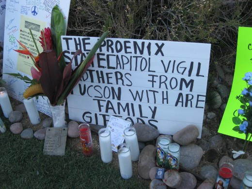Impromptu memorial to Rep Gabrielle Giffords at University Medical Center in Tucson, AZ