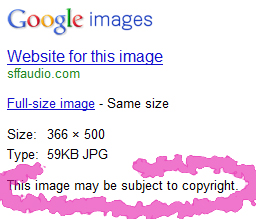 If you click on an image from Google Images, you will get a message like this.  The image you are looking at probably is copyrighted.