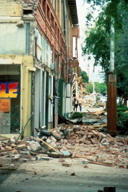 Taken from earthquake in Coalingua, California.  The reason you don't want to run outside in an earthquake is to avoid falling debris.  You could be hit by these bricks when running out of the building.  Not all the debris falls inside.