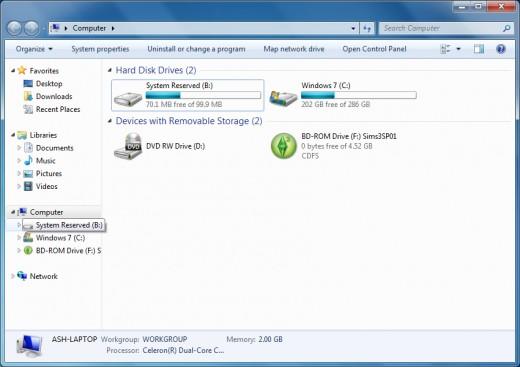 Screen shot of computer