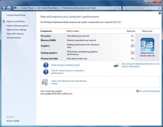 Windows experience windows 7