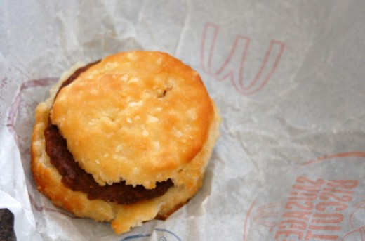 Let's start this day off with an unhealthy sausage biscuit from Mickey D's.