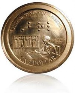 Prototype of US Mint's First Readable Braille Coin