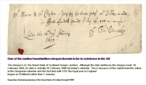 On of the earliest handwritten cheques known to be in existence in the UK