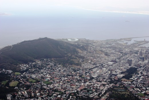 Part of the City as viewed from Table Mountain. The new World Cup Soccer Stadium is just in view at the top of the picture