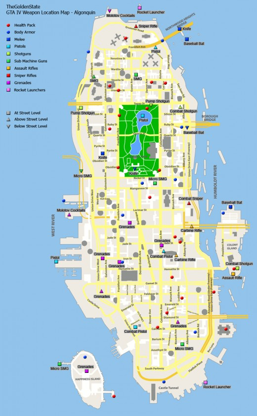 Algonquin Weapon Locations Map  Gta Iv Weapon Map