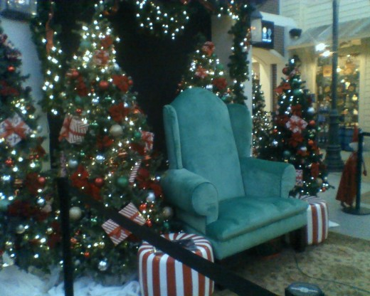 The chair where Santa greets good  little children and asks what they would like for Christmas.