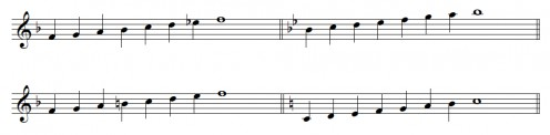 """F major """"transformed"""" into Bb and C."""