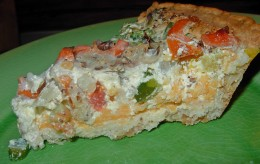 Close-up View of Vegetable Quiche
