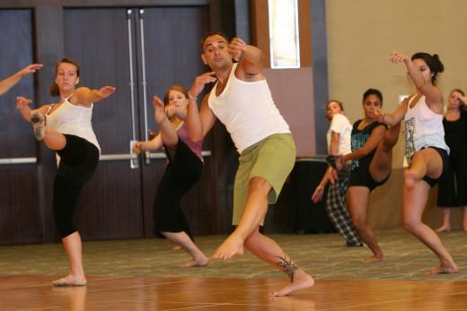 Louis Kavouras teaching a modern combination at DanceTeacherWeb's annual Dance Teacher Conference in Las Vegas, NV