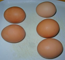 Step 38 - Get out 2 eggs for small pie and 3 eggs for cake pan