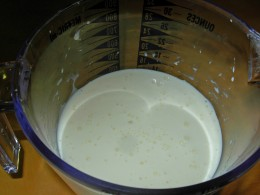 Step 42 - Measure out 1 and one-half cups of Half & Half for Pie Tin