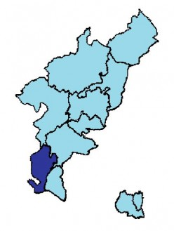 Map location of Langsur, in Trier district, of the Rhineland-Palatinate, Germany