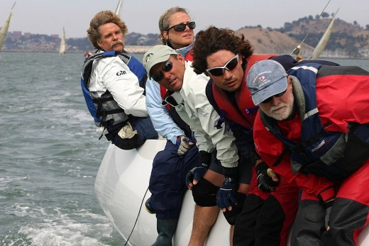 Mark Lowry's Xena crew hiking at close finish
