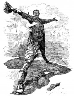Cartoon by Edward Linley Sambourne, published in Punch after Rhodes announced plans for a telegraph line from Cape Town to Cairo. Image from Wikipedia
