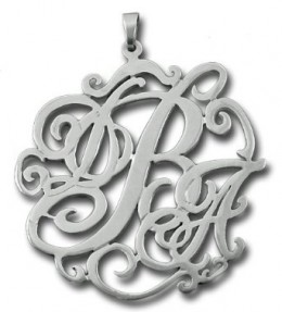 Personalized Silver Lace Monogram Necklace Any Initials - Custom Name Jewelry Wow! Imports