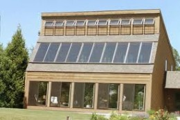 Here is an example of a house using both passive and active solar energy.