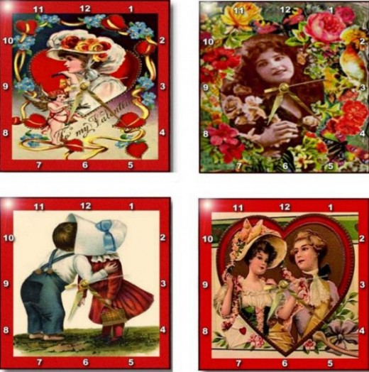 Valentine vintage, modern and Anti-Valentine wall clocks are the idea gift to give to someone special or someone who use to be special