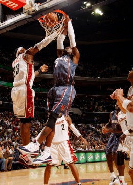 One of the many times that Lebron James has been dunked on hard