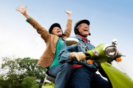 Hire a scooter and take your partner for a ride!