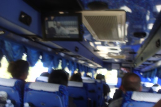 We watched movies on a  DVD screen on the way to and from the Thai/Cambodian Border.
