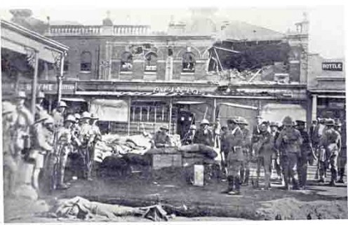 The picture of Market Square in Fordsburg, taken on 14 March after government forces had captured it, shows some of the damage done. In the second half of March, the government succeeded in suppressing the unrest. Image from http://newhistory.co.za/