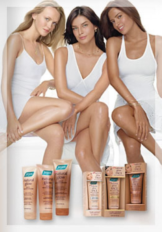 Jergens Moisturizing Lotions Advertising with Three Beautiful Women in White Dresses and Sexy Legs