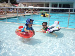 My son and nephew on the kid's pool during our family vacation in Antalya, Turkey.