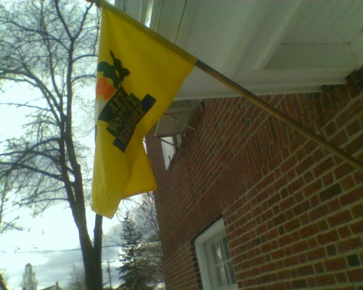 The flag flying outside the entrance of the children's room at the Berlin Public Library, In Berlin, MA.