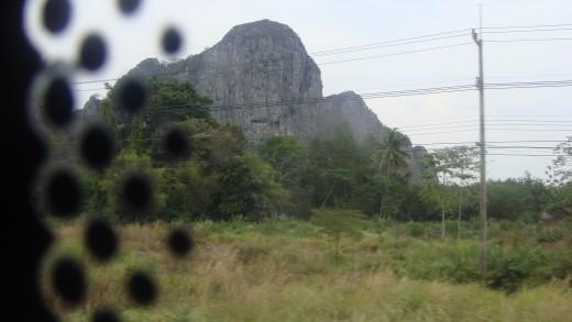 A rock mountain.