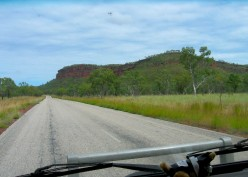 First sight of the red escarpments near VIctoria River
