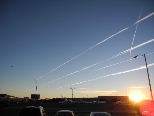 7:15 am Las Vegas Morning near MGM Hotel View across the street from the private airport This photo doesn't do this phenomena justice, these chemtrials were horizon to horizon- chemtrails all over the sky