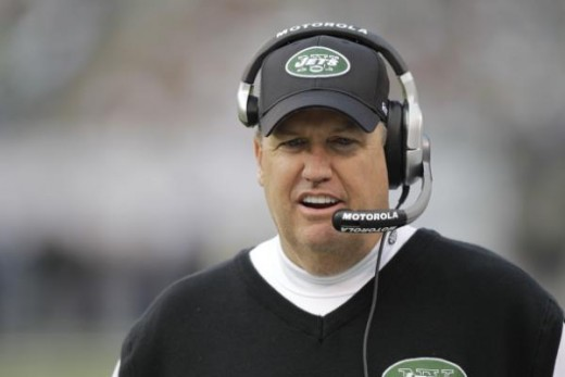 New York Jets head coach Rex Ryan during the first quarter of the NFL football game between the Buffalo Bills and the New York Jets at New Meadowlands Stadium, Sunday, Jan. 2, 2011, in East Rutherford, N.J. (AP Photo/Seth Wenig)