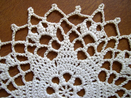 White crocheted doily.